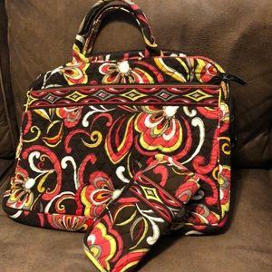 Vera Bradley Puccini Lap Top Bag & Glasses Case